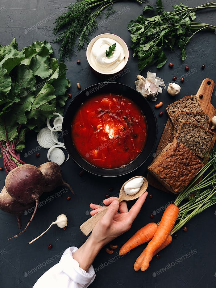 red borscht soup with vegetables, ingredients and cooking
