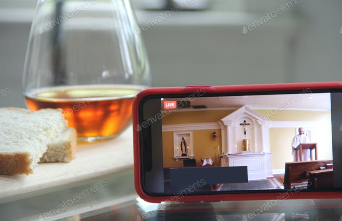 Virtual Sunday Mass with Bread & Wine during pandemic time.