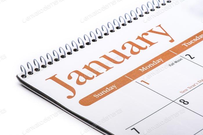 Month of January as written on a calendar