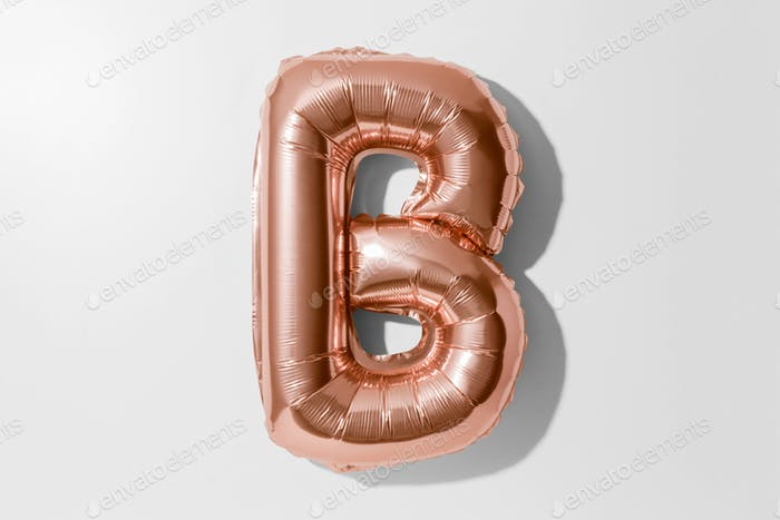 Letter B, Rose gold foil balloon alphabet isolated on a white background with Clipping Path