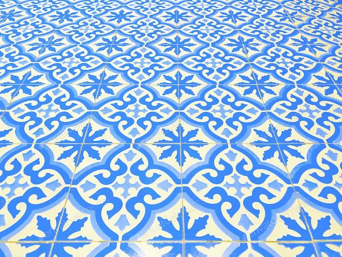 Blue tiled floor