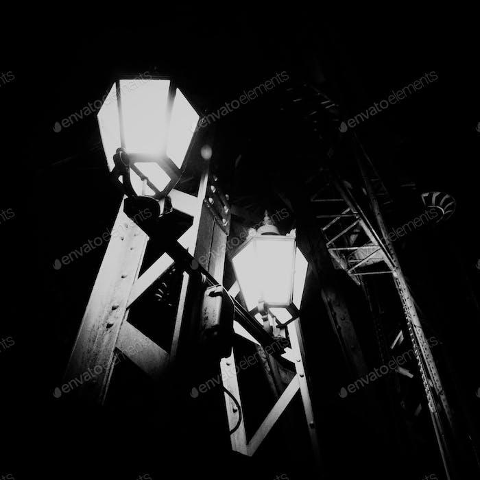 Details of a bridge at night