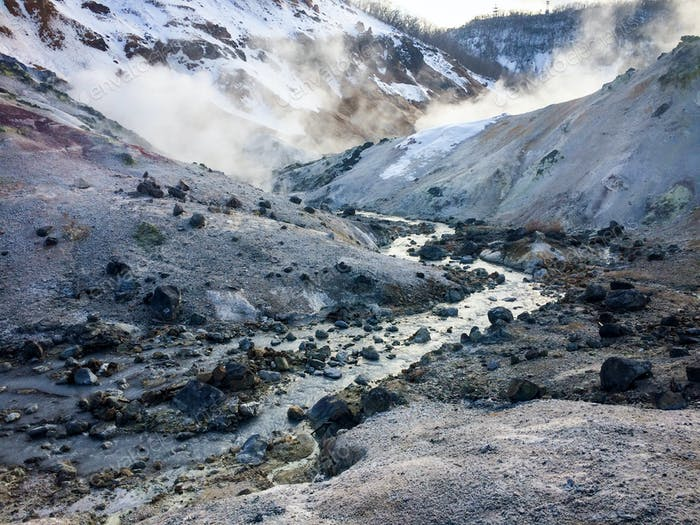 "Volcanic steam vents in ""Hell Valley,"" Jigokundai, Hokkaido, Japan"