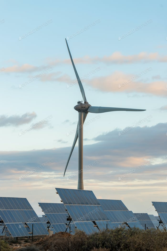 wind turbines and solar panels collect solar energy, eco technology without an eco-footprint