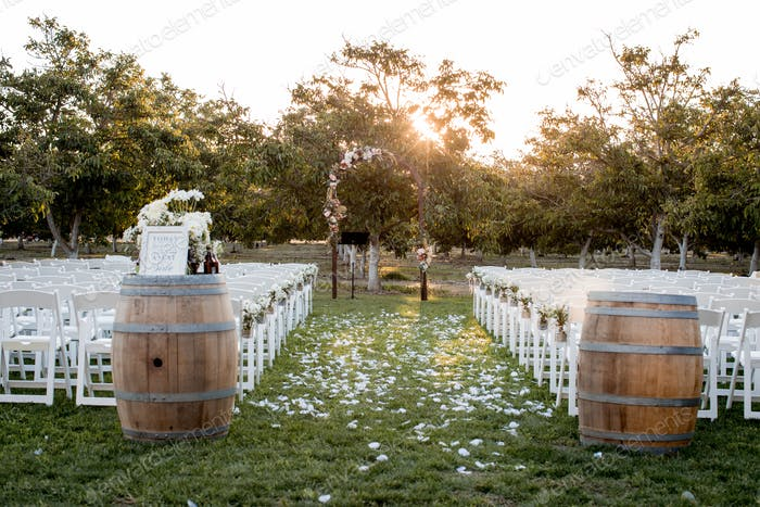 Outdoor wedding in a walnut grove