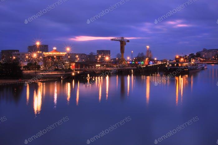 Quai des Antilles by night. Nantes, France.