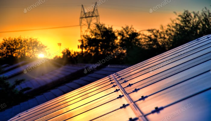 High Power electric lines ruin the sunset.. But my Solar panels capture it!