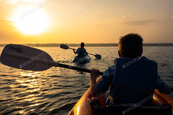 Early morning kayak on the Bacalar Lagoon in the Yucatan peninsula of Mexico