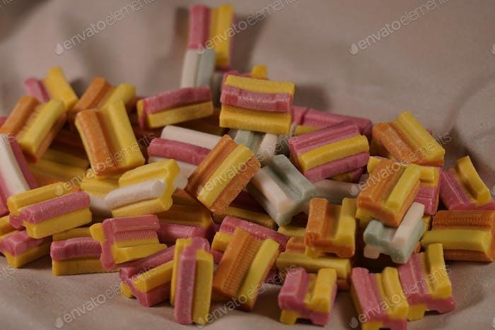 Colorful pile of gum , bubblegum