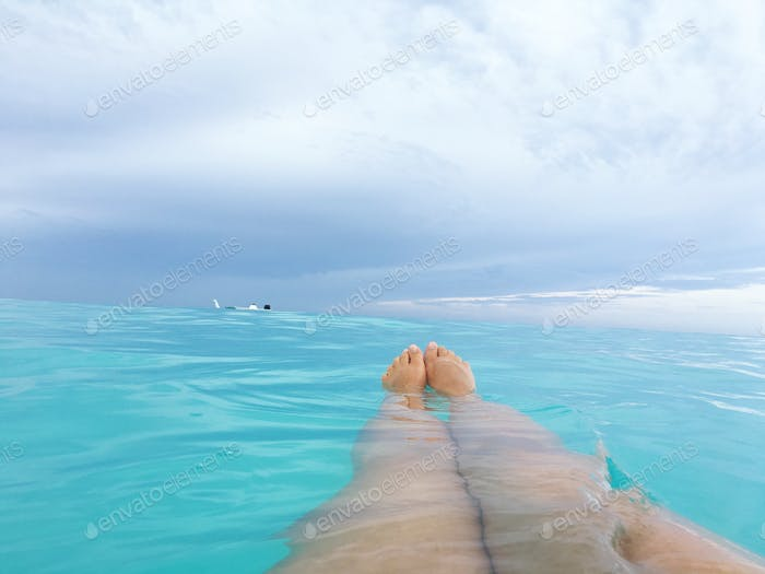 Floating in the Caribbean
