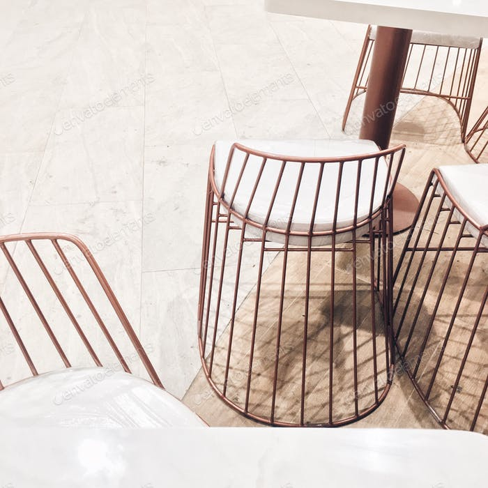 Modern copper chairs.