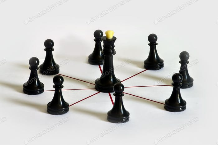 Chess concept, team building, leadership and delegation of authority, workflow.
