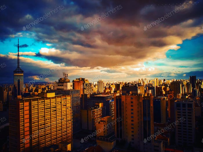 View of the skyline of Sao Paulo from the top of a building on the Paulista Avenue