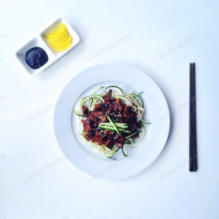 Vegetarian korean black bean sauce on zoodles! My healthy spin.