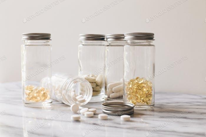 Vitamins in jars