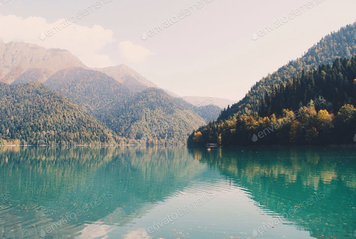 Magnificent landscape with lake and mountains