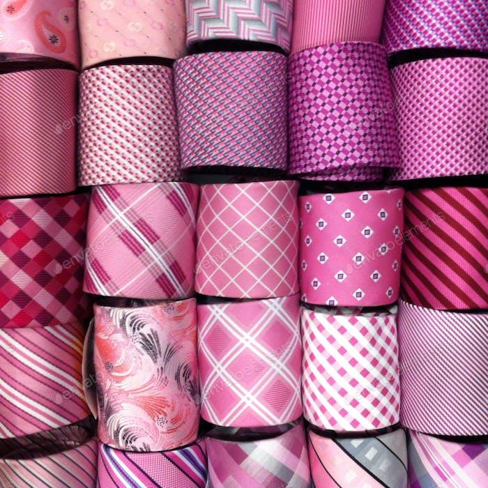 Pink neckties display
