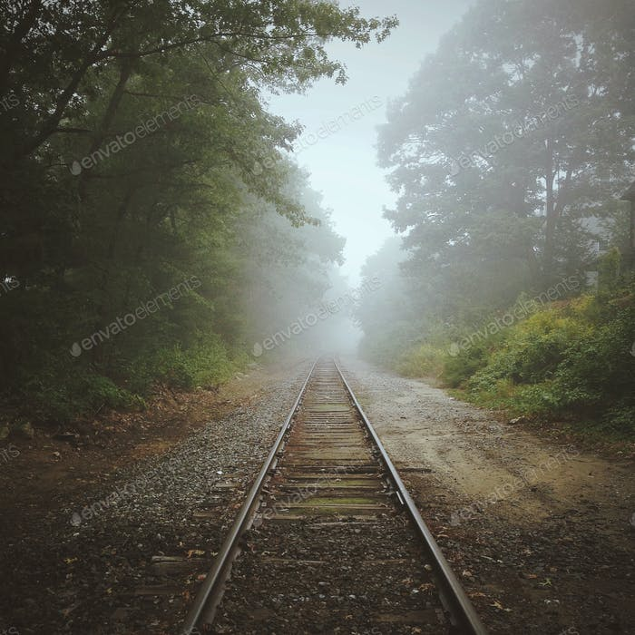 Railroad track vanishing into fog